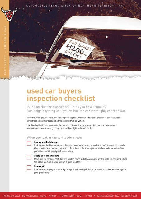 Used Car Buyers Inspection Checklist