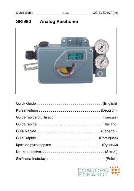 Quick Guide Sri990 Int Page De Garde 10 08 Foxboro Eckardt