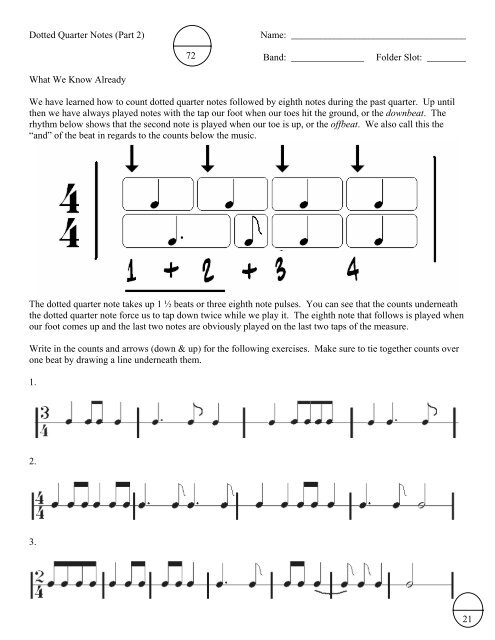Dotted Quarter Notes (Part 2) Name: Band: Folder Slot