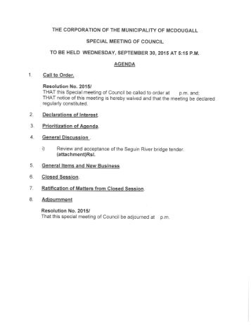 September 30, 2015 Special Meeting Agenda