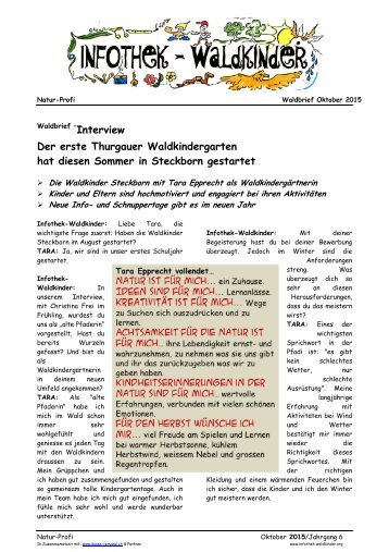 Infothek Waldkinder  - Interview mit erstem Thurgauer Waldkindergarten