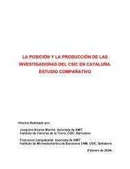 INVESTIGADORAS DEL CSIC EN CATALUÑA ESTUDIO COMPARATIVO