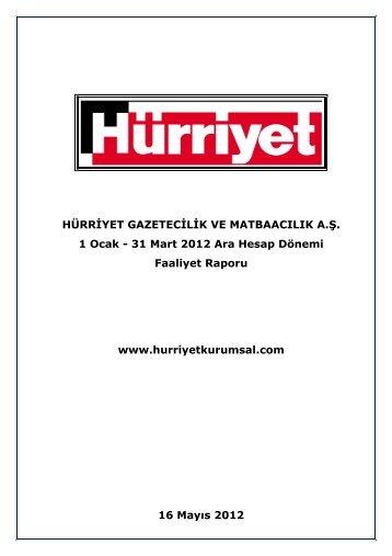 Faaliyet Raporu www.hurriyetkurumsal.com 16 Mayıs 2012