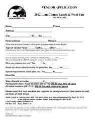 VENDOR APPLICATION 2012 Linn County Lamb & Wool Fair