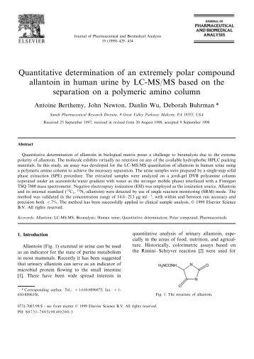 Quantitative determination of an extremely polar compound allantoin ...