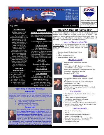 industry RE/MAX Hall Of Fame 2001