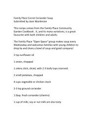 Family Place Carrot Coriander Soup Submitted by Jean MacKenzie ...