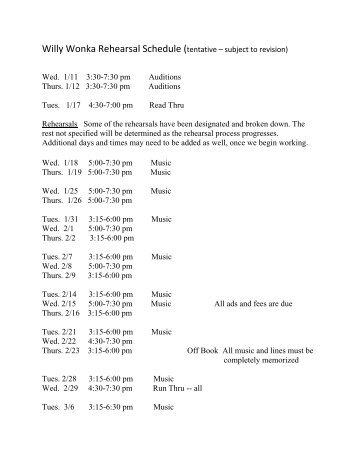 Willy Wonka Rehearsal Schedule (tentative