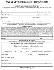 ATCC CO-ED VOLLEYBALL LEAGUE REGISTRATION FORM