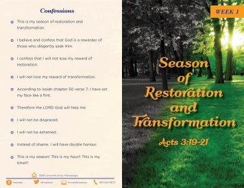 of Restoration and Transformation