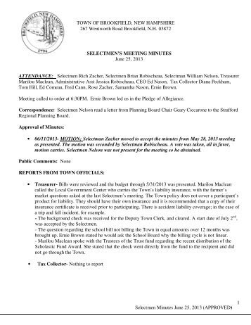 Selectmen Minutes June 25, 2013 - the Brookfield, NH Official Website