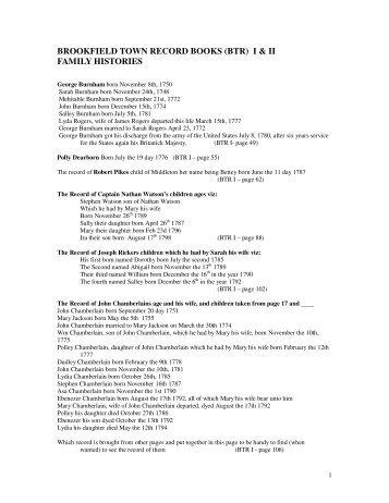 BROOKFIELD TOWN RECORD BOOKS (BTR) I & II FAMILY HISTORIES