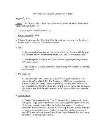 1 Brookfield Conservation Commission Minutes August 4 , 2010 ...