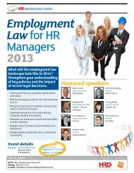 Employment Law for HR Managers 2013