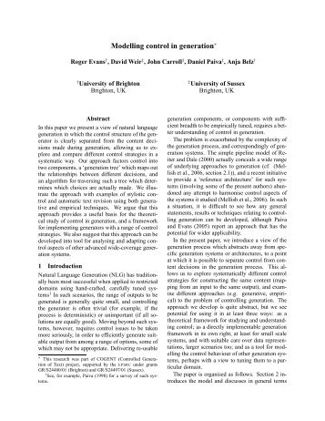 Modelling control in generation - Natural Language Technology Group