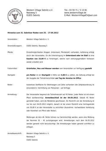 Western Village Sebnitz e.V. Tel.: 03 59 71 / 5 13 81 Nassweg 5 ...