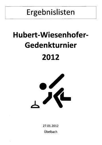 Ergebnisliste des Hubert-Wiesenhofer-Gedenkturnieres 2012