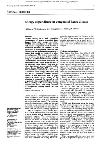 Energy expenditure in congenital heart disease - Archives of ...