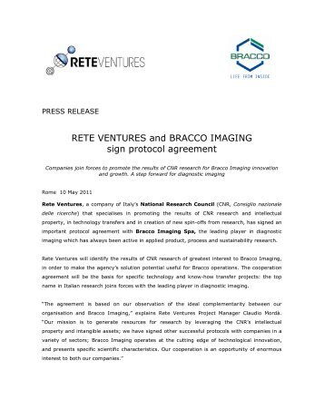 RETE VENTURES and BRACCO IMAGING sign protocol agreement