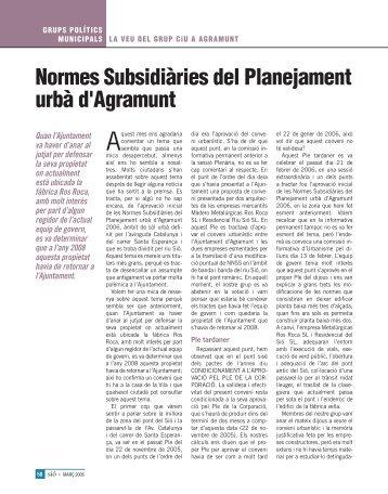 Normes Subsidiàries del Planejament urbà d'Agramunt