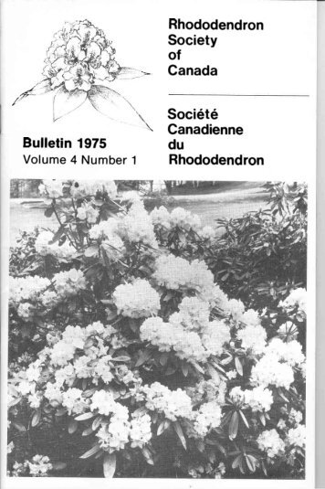 Rhododendron Society of Canada Soci6t6 \ Canadienne du Rhododendron