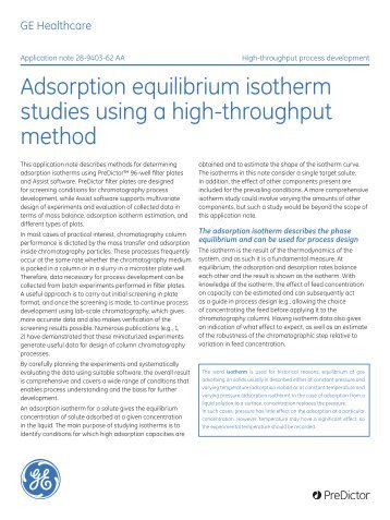 Adsorption equilibrium isotherm studies using a high-throughput ...