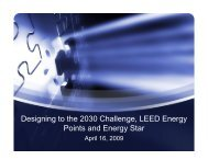 Designing to the 2030 Challenge LEED Energy Points and Energy Star