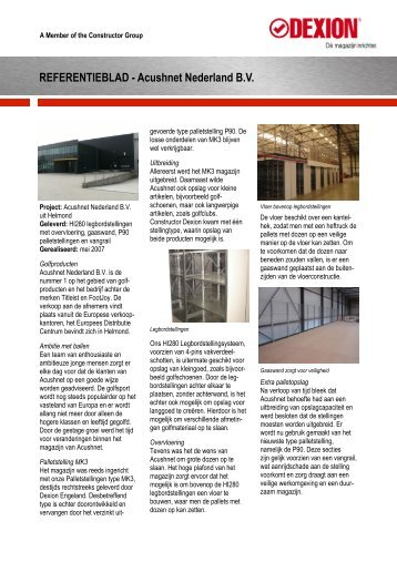 Acushnet Nederland BV - Constructor Dexion