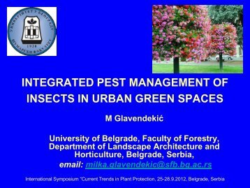 INTEGRATED PEST MANAGEMENT OF INSECTS IN URBAN GREEN SPACES