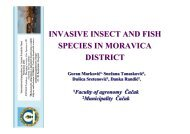 INVASIVE INSECT AND FISH SPECIES IN MORAVICA DISTRICT