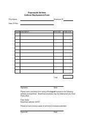 ExpressJet Airlines Uniform Replacement Form