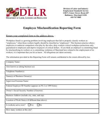 Employee Misclassification Reporting Form