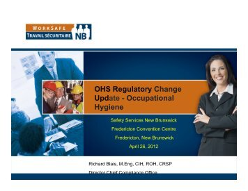 OHS Regulatory Change Update - Occupational Hygiene