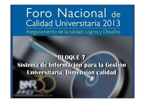 Sistema de Información para la Gestión Universitaria Dimensión 9