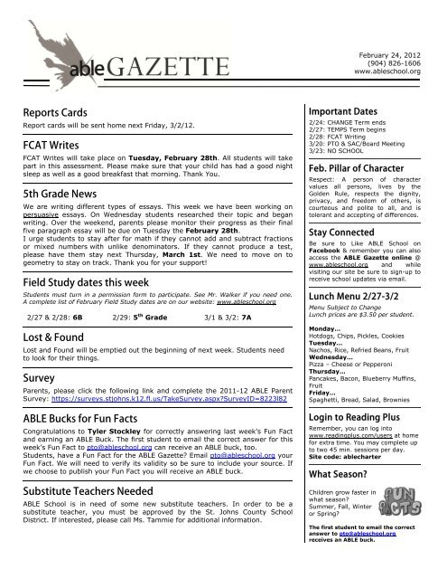 Reports Cards FCAT Writes 5th Grade News Field Study Dates