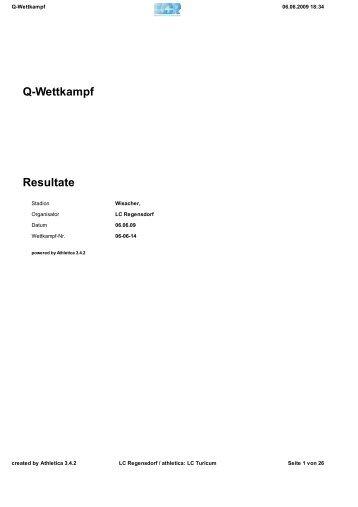 Q-Wettkampf Resultate