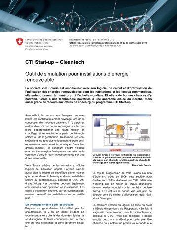 CTI Start-up – Cleantech Outil de simulation pour ... - Solution.ch AG