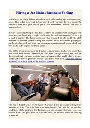 Hiring a Jet Makes Business Feeling