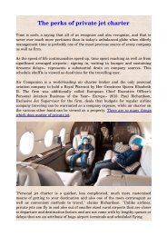 The perks of private jet charter