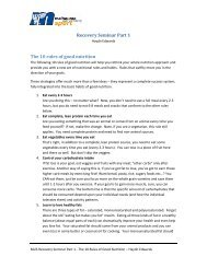 Recovery Seminar Part 1 The 10 rules of good nutrition
