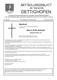 sonstige bekanntmachungen - Gemeinde Dettighofen