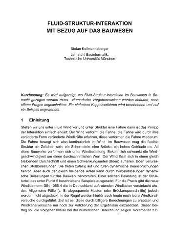 FLUID-STRUKTUR-INTERAKTION MIT BEZUG AUF DAS BAUWESEN