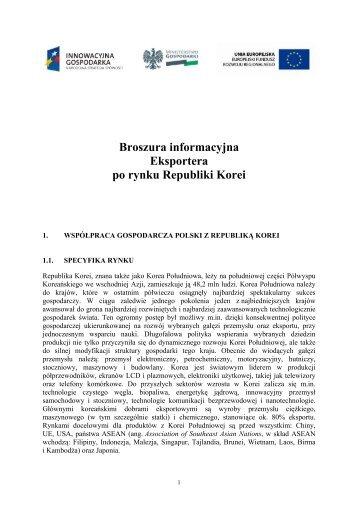 Broszura informacyjna Eksportera po rynku Republiki Korei
