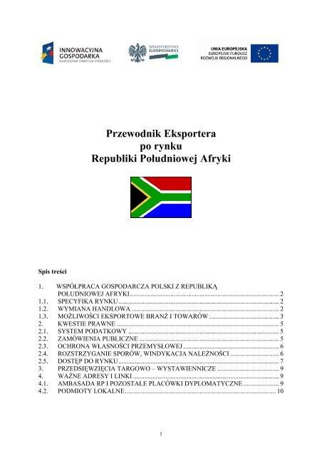 Przewodnik Eksportera po rynku Republiki Południowej Afryki