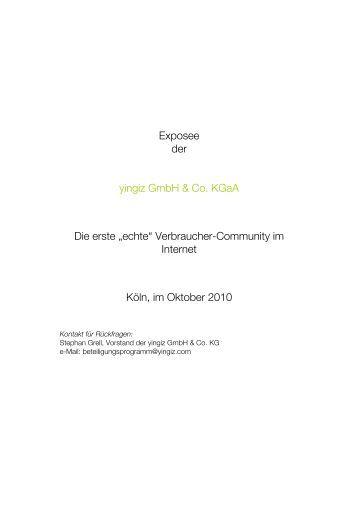"""Exposee der yingiz GmbH & Co. KGaA Die erste """"echte ..."""