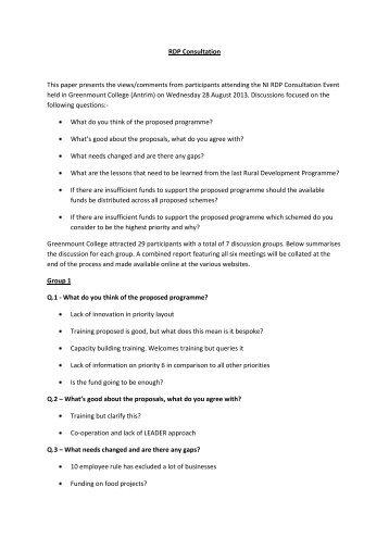 Greenmount RDP seminar notes - Rural Community Network