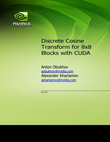 Discrete Cosine Transform for 8x8 Blocks with CUDA