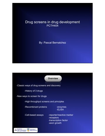 Drug screens in drug development