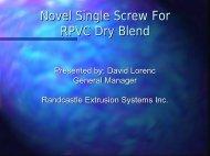 Novel Single Screw For RPVC Dry Blend