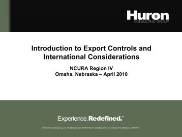 Introduction to Export Controls and International Considerations